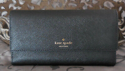 $ CDN63.10 • Buy Kate Spade ~Saffiano Leather Tri-Fold PHONE Clutch Wallet~BLACK~NWT $158