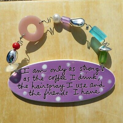$14.95 • Buy Dept. 56, Sandra Magsamen, Beaded Ceramic Plaque, I Am Only Strong As The Coffee