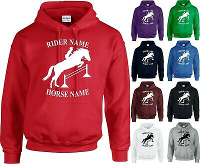 Personalised Horse Printed Hoodie Equestiran Pony Riding Kids Adults Tops Jumper • 21.73£