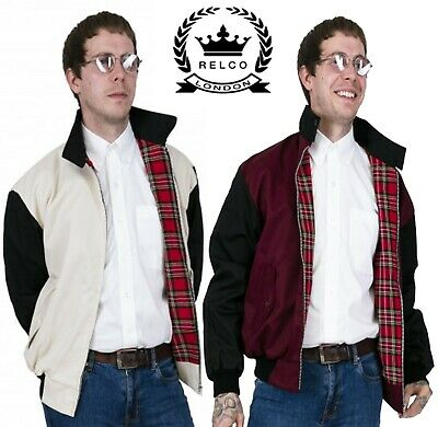 Relco Men's Harrington Jacket Rockabilly Varsity Burgundy Stone Bomber Jacket • 36.99£