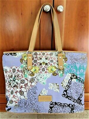 $279.97 • Buy ETRO Italy Floral Tote Shoulder Bag Lavender Multicolor Canvas Leather RARE!