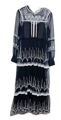 $44.99 • Buy NWT Zara Woman Embroidered Tulle Long DRESS Black White Size Large L