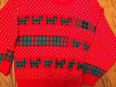 $5 • Buy Ladies Large Red Green Christmas Sweater Scottie Dog