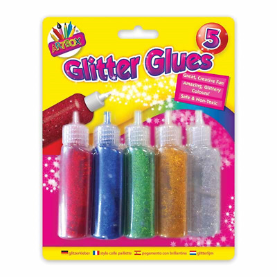 5 Pack Glitter Glues Tubes Assorted Sparkly Colours Kids DIY Art Craft  • 2.49£
