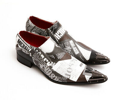 Mens Shoes King Of PoP Michael Jackson Inspired Metal Pointed Toe Slip On Oxford • 49.99£
