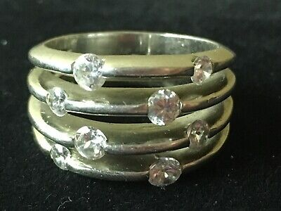 $79.99 • Buy 4 Bands Into 1 Band 8 CZ Stones Sterling Silver Ring Charles Winston CWE Sz 9.5