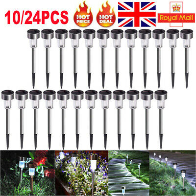 10/24X Solar LED Stake Outdoor Garden Lights Stainless Steel Pathway Lights UK • 13.59£