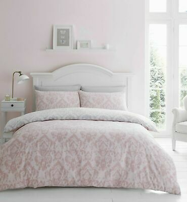 £19.99 • Buy Catherine Lansfield Damask Blush Easy Care Duvet Cover Set All Sizes Free P&P
