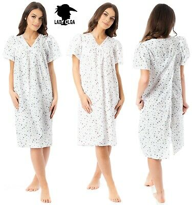 NEW Ladies INCONTINENCE OPEN BACK Poly Cotton Nightdress Nightie Hospital Gown • 14.99£