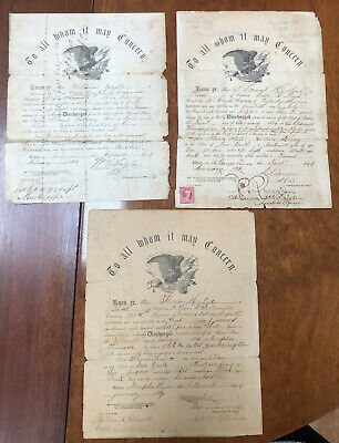 $60 • Buy THREE CIVIL WAR DISCHARGE PAPERS Two From 1864 And One From 1866 See Photos