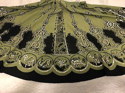 $20 • Buy Prairie Style Square Dance Skirt Green And Black With Sequins (k#12)