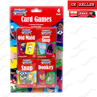 Children's Playing Cards Pack Of 4 Fun Animal,snap,old Maid,donkey • 2.99£