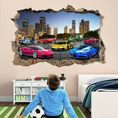 Super Sports Cars Supercar Wall Sticker Mural Decal Self-adhesive Print Art DT24 • 14.99£