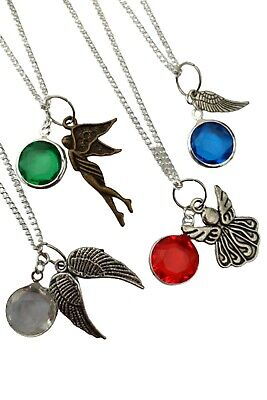 SILVER NECKLACE ANGEL WING Birthstone Charm Pendant Birthday Gift + Bag • 5.97£