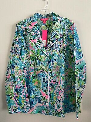 $35 • Buy LILLY PULITZER- Woven Pajama Top - Lilly's House  -Size L NWT Reg $68