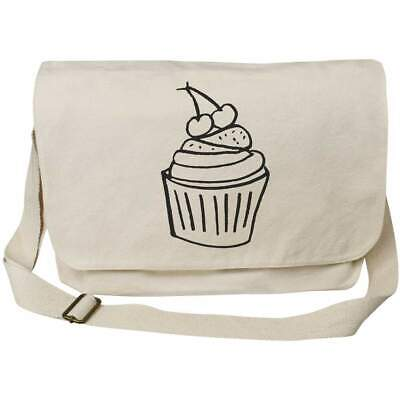'Cherry Cupcake' Cotton Canvas Messenger Bags (MS018450) • 11.99£