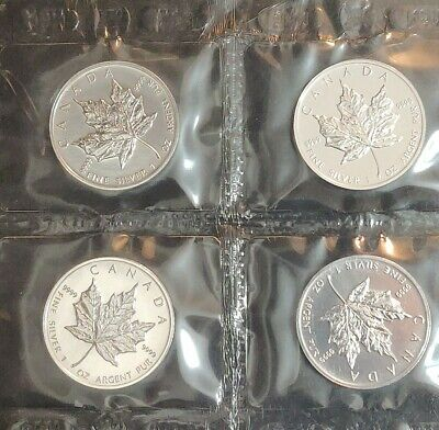$ CDN199 • Buy Lot Of 4 - 1994 $5 Canada .9999 Pure Silver Maple Leaf 1 Oz Coin  MINT SEALED
