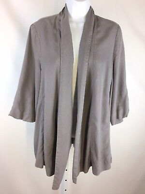 $ CDN7.07 • Buy Coquille Anthropologie Womens Cinched Swathe Jacket Size Large Gray No Belt