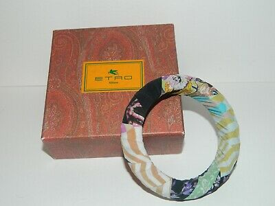 $60 • Buy Etro Silk Paisley/Floral Fabric Wrapped Bangle Jewelry SizeM Made In Italy $115