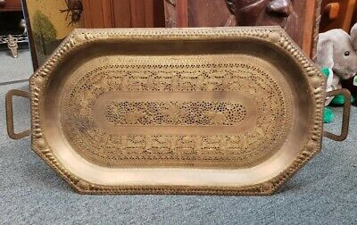 $500 • Buy Early 20th Century Indo-Persian Mamluk Revival Gilded Brass Reticulated Tray