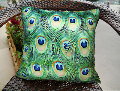 Fashion Elegant Pillow Cushion Cover Peacock Double Sides Feather Pattern • 31.76£