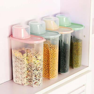 £7.99 • Buy 4 Pcs Airtight Cereal Containers Dispenser Food Storage Dry Food Kitchen 1.9L