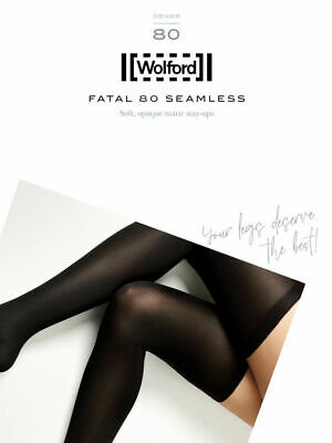 Wolford Fatal 80 Seamless Stay Up, Luxury Opaque Thigh High Hold Ups • 35£