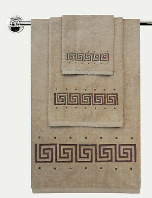 Luxury 100% Cotton Greek Key Embroidered Bath Towel 3 Piece Gift Bale Set • 19.94£