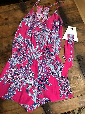 $59 • Buy Lilly Pulitzer Shell Me About It Sleeveless V-Neck Romper Shorts Pink SZ L EUC