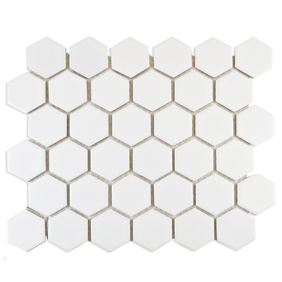 Bijou Gloss Hexagon White Ceramic Mosaic Wall Tiles Per Sheet • 1.72£