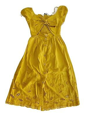 $32.99 • Buy NWT Zara Woman Mustard Embroidered Midi Dress With Openings Size S Small