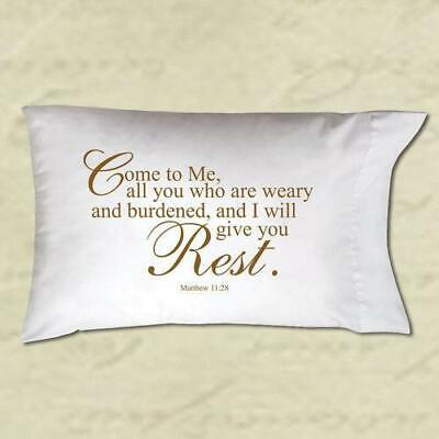 £7.96 • Buy Pillow Case -  Come To Me I Will Give You Rest  (Christian Gift)