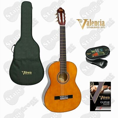 AU110 • Buy Valencia Student Classical Guitar Kit Natural Gloss W/ Bag & Tuner - Select Size