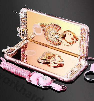 AU12 • Buy Luxury Chrome Mirror Bling Diamond Metal Ring Holder Stand Case Cover With Strap
