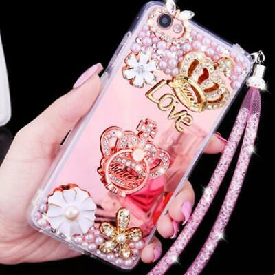 Girl's Mirror Luxury Bling Diamond Love Crown Ring Strap Soft Phone Case Cover  • 6.73£