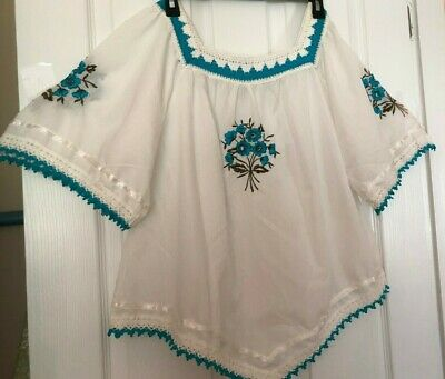 $20 • Buy White W/aqua Embroidery Square Dance/everyday Blouse (c#26)