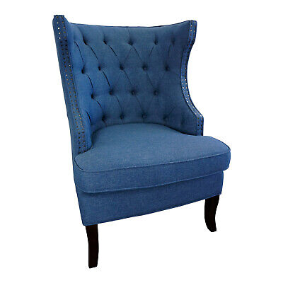 AU1069 • Buy Oxford Upholstered Button Wingback Sofa Lounge Armchair Navy