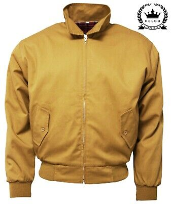 Relco Men's Yellow Mustard Harrington Bomber Mustard Northern Soul Mod Jacket • 34.99£