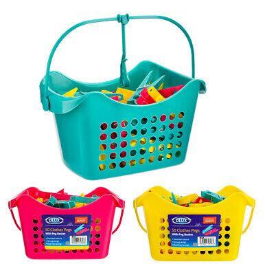 50 Large Clothes Pegs In Basket Hanging With Hook Washing Line Airer Value Pack • 6.49£