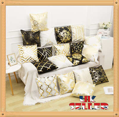 New 18 X18 Inch GOLD POLYESTER CUSHION COVER PILLOW CASE HOME SOFA DECOR • 3.59£