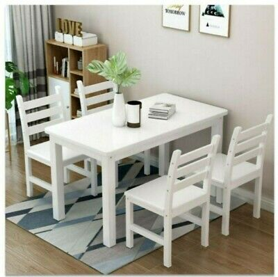 £79.99 • Buy White Classic Solid Wooden Dining Table And 4 Chairs Set Kitchen Home