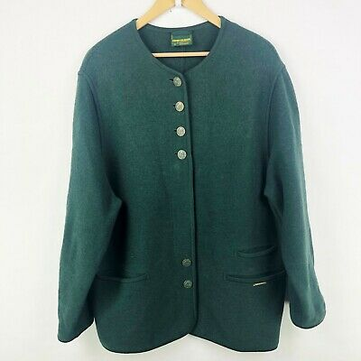 $100 • Buy Geiger Austria Womens Size 44 US 14 16 Green Boiled Wool Sweater Jacket Buttons