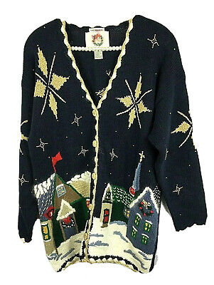 $15.20 • Buy Ugly Christmas Blue Cardigan Sweater Sz M Church Village Town Gold Sparkle Stars