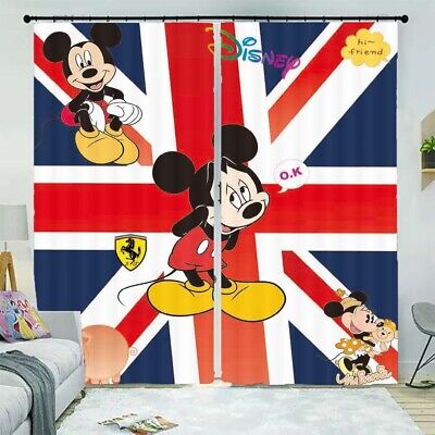 Hello Cute Mickey Mouse 3D Curtain Blockout Photo Printing Curtains Drape Fabric • 33.26£