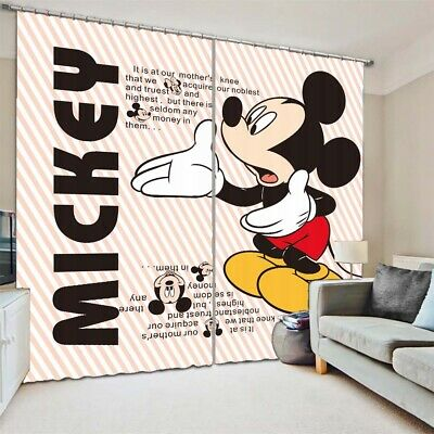 Letter Mickey Mouse 3D Curtain Blockout Photo Printing Curtains Drape Fabric • 33.26£