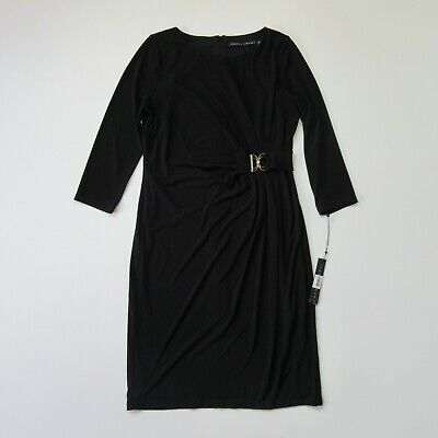 $ CDN32.46 • Buy NWT Ivanka Trump Jersey Sheath In Black Gathered Pleats Hardware Dress 8