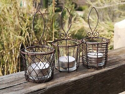 3 Wall Hung Wire Cage Hanging Tea Light Holders Rusty Glass Rustic Candle Votive • 22£