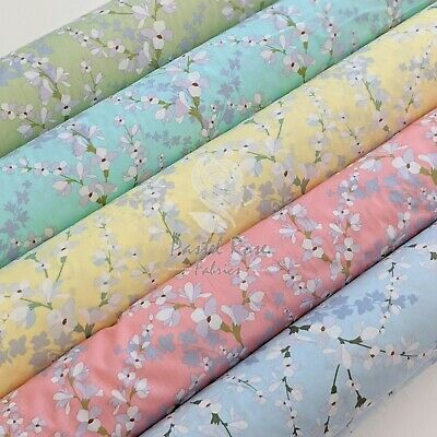 Japanese Bloom Floral 100% Cotton Fabric ~ Quilting, Craft, Clothing • 4.20£