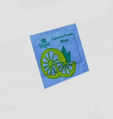 Wet Wipes Small Lemon Scented Hand Wipe Small Packets Individual Wraped Majestic • 3.75£
