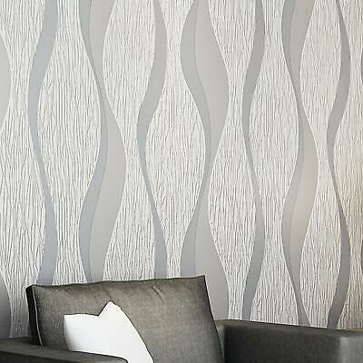 3D Damask  Sliver Wave Wallpaper Roll Home Decor Silver Grey Wall Paper  Rolls • 5.99£